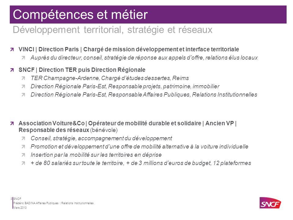 Compétences et métier Développement territorial, stratégie et réseaux