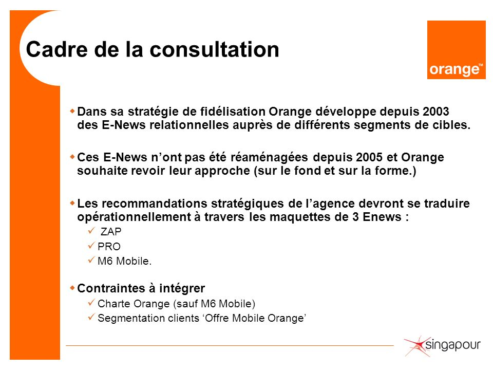 Cadre de la consultation