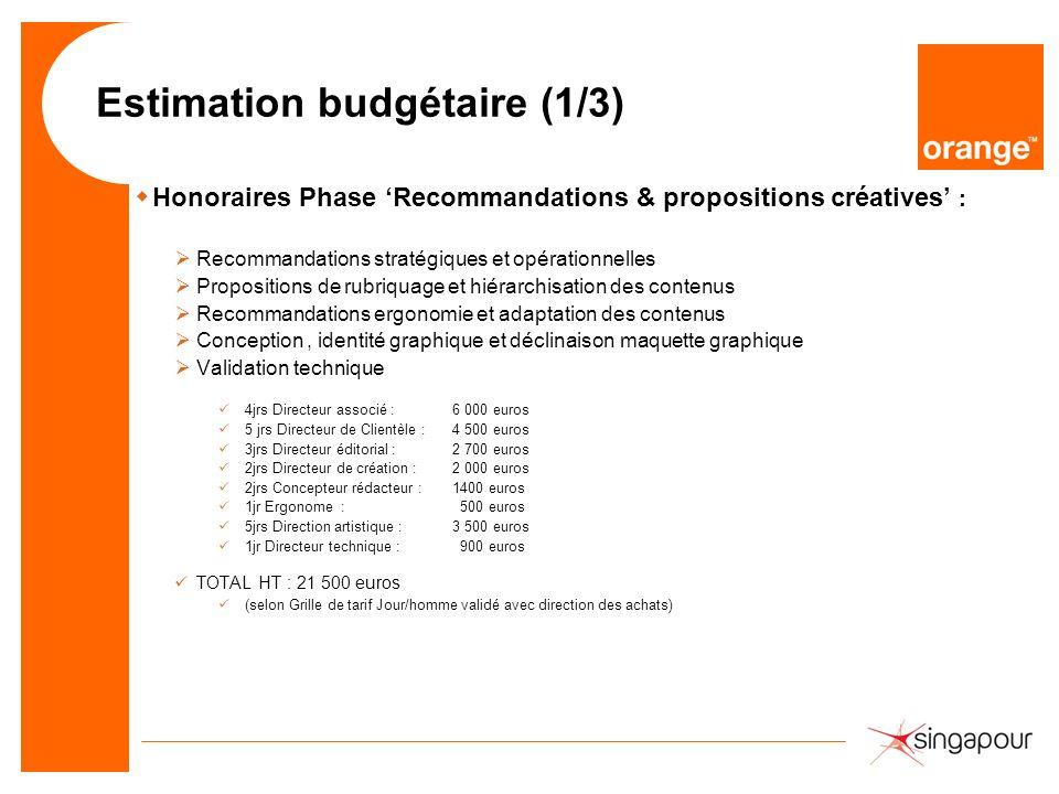 Estimation budgétaire (1/3)