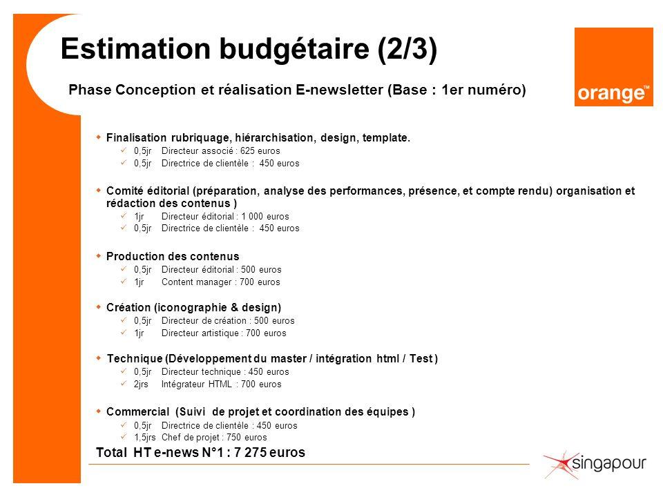 Estimation budgétaire (2/3) Phase Conception et réalisation E-newsletter (Base : 1er numéro)