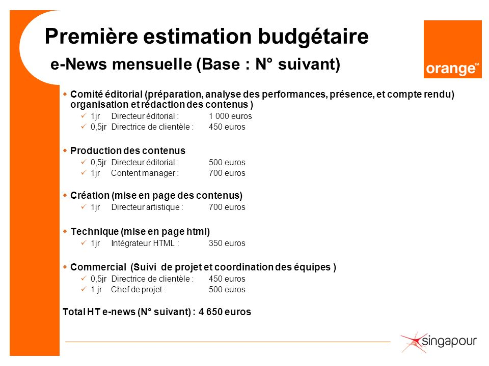 Première estimation budgétaire e-News mensuelle (Base : N° suivant)