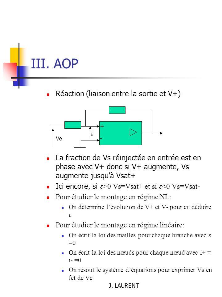 III. AOP Réaction (liaison entre la sortie et V+)