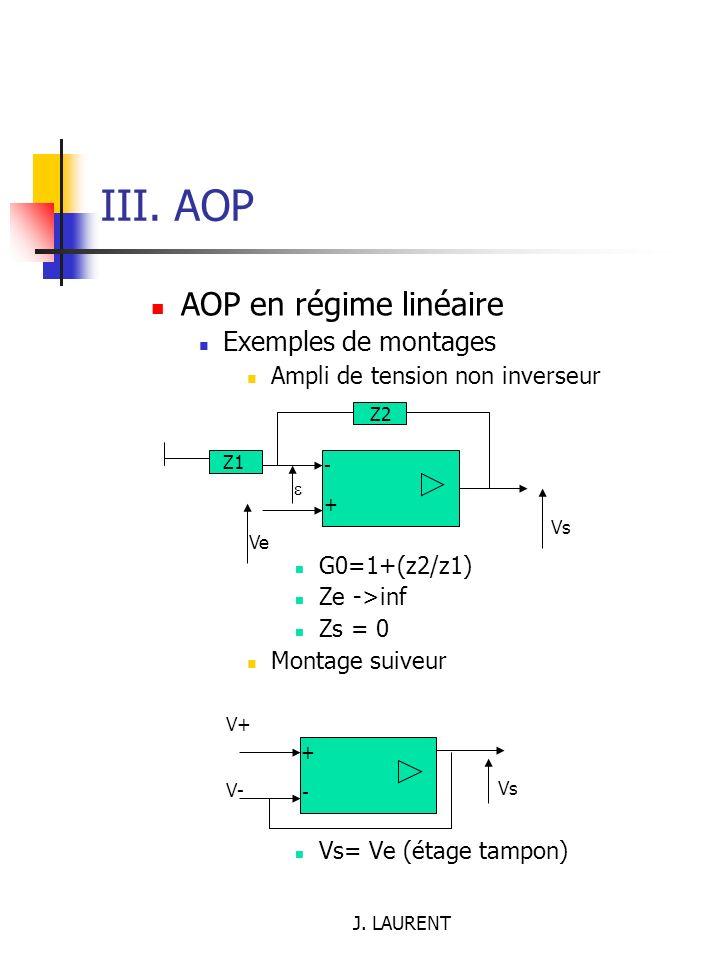 III. AOP AOP en régime linéaire Exemples de montages