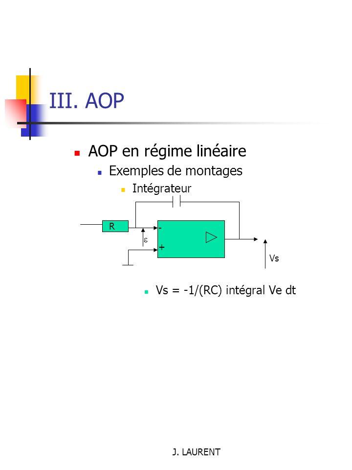 III. AOP AOP en régime linéaire Exemples de montages Intégrateur