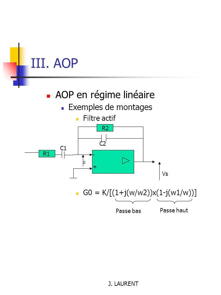 III. AOP AOP en régime linéaire Exemples de montages Filtre actif