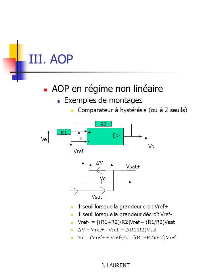 III. AOP AOP en régime non linéaire Exemples de montages
