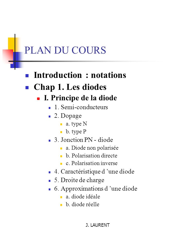 PLAN DU COURS Introduction : notations Chap 1. Les diodes