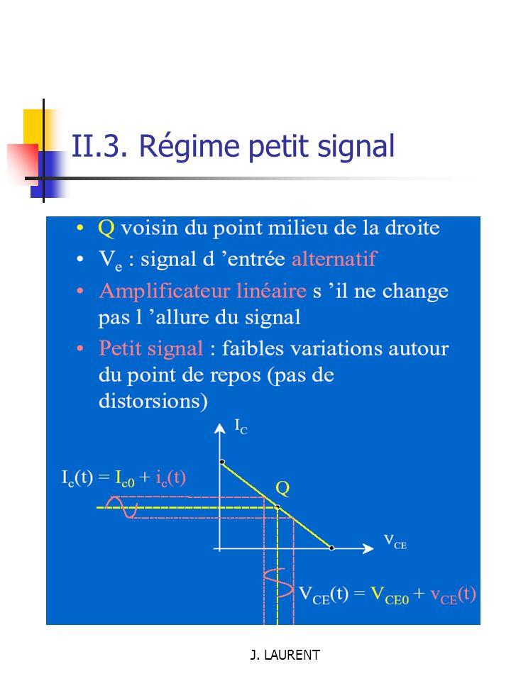 II.3. Régime petit signal J. LAURENT