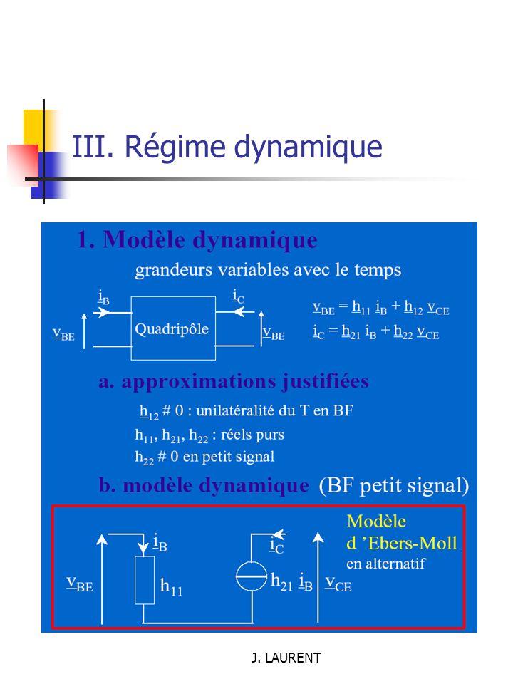 III. Régime dynamique J. LAURENT