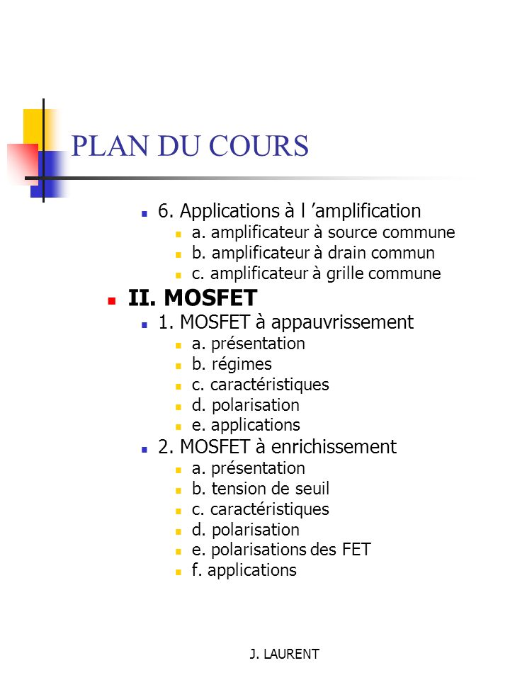 PLAN DU COURS II. MOSFET 6. Applications à l 'amplification