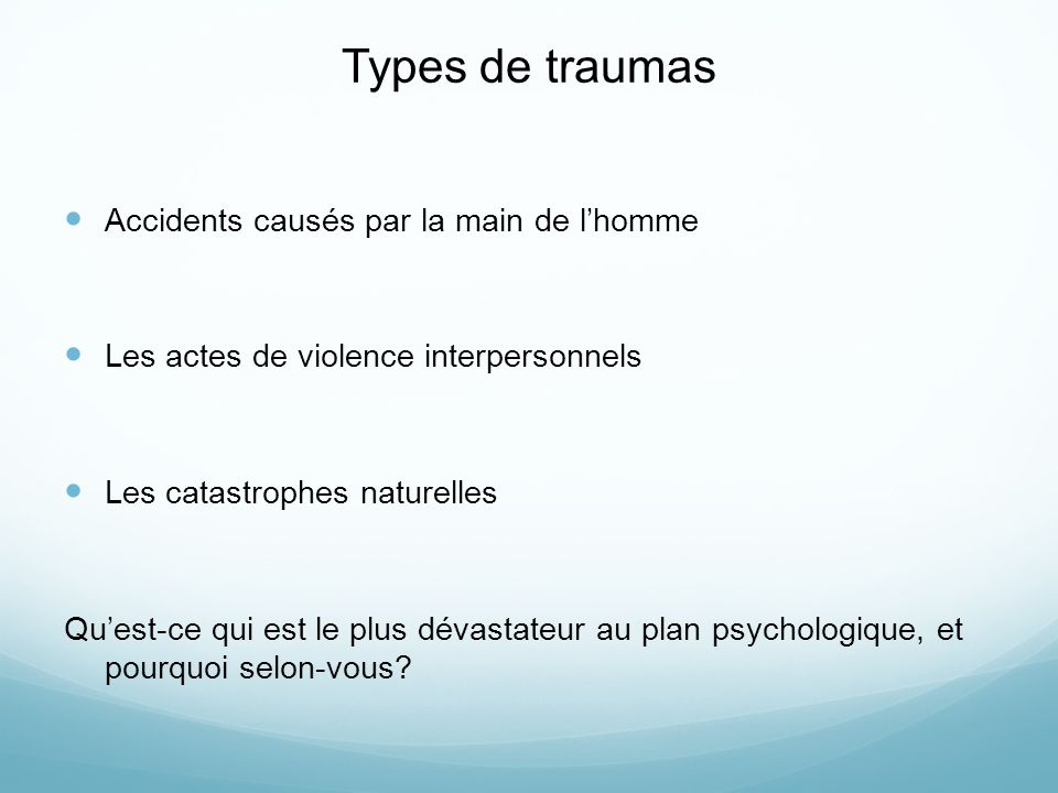 Types de traumas Accidents causés par la main de l'homme