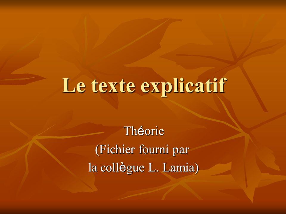 Théorie (Fichier fourni par la collègue L. Lamia)