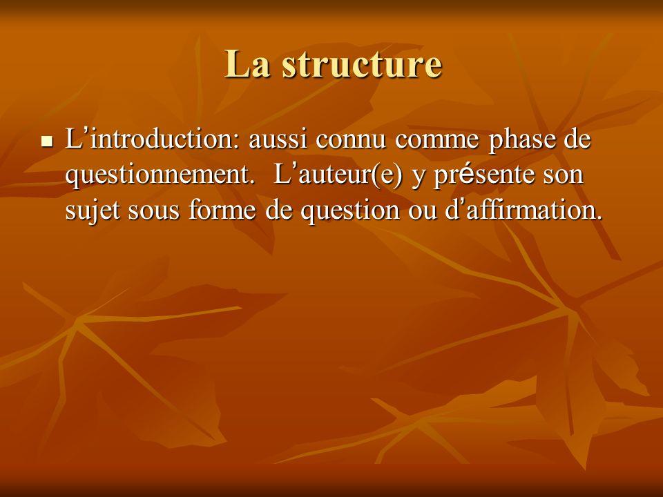 La structure L'introduction: aussi connu comme phase de questionnement.