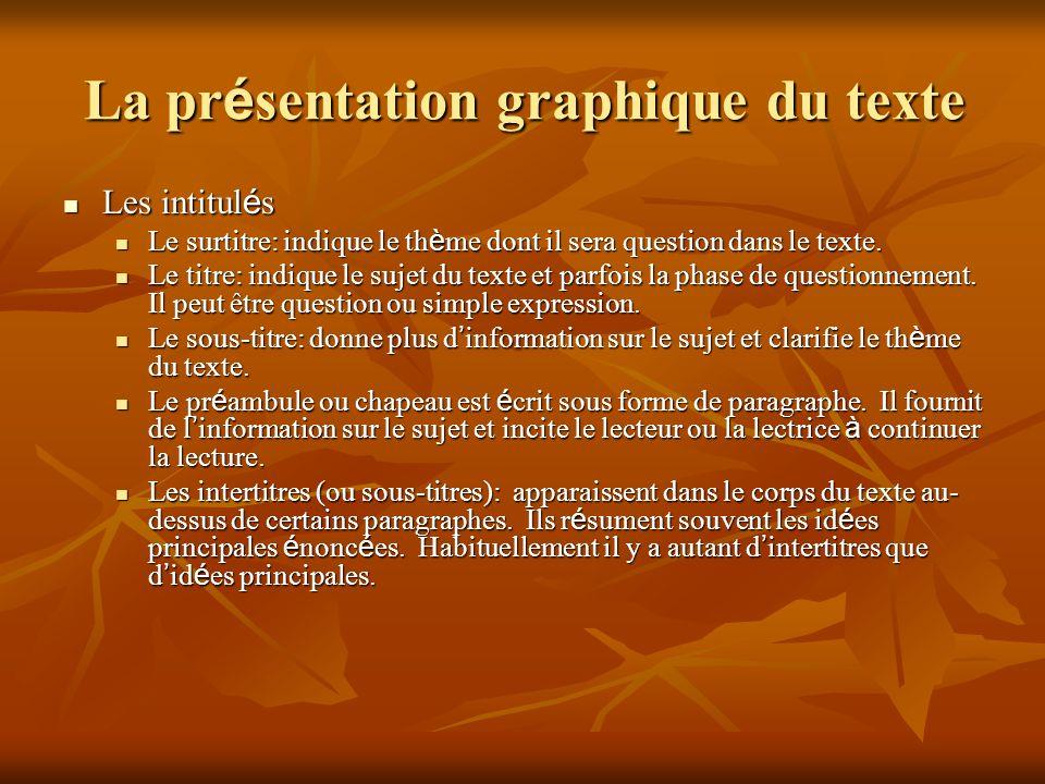 La présentation graphique du texte