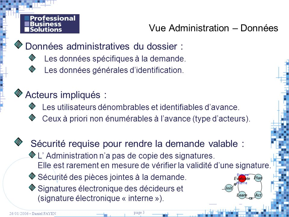 Vue Administration – Données