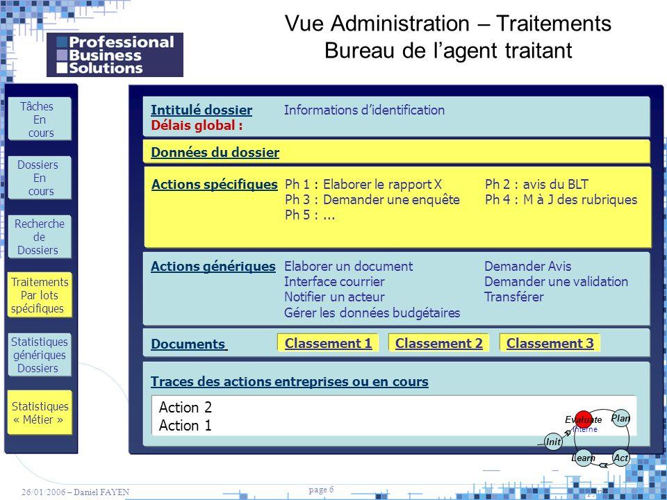 Vue Administration – Traitements Bureau de l'agent traitant