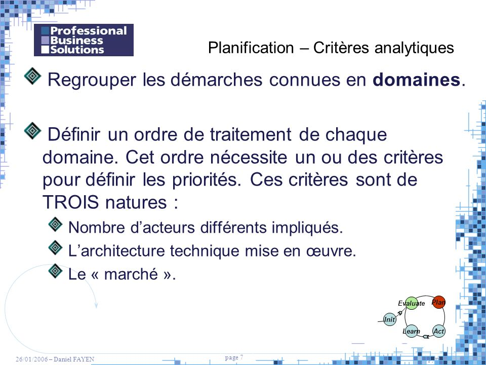 Planification – Critères analytiques