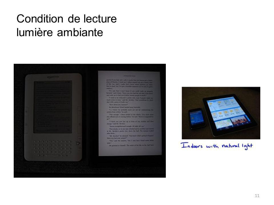 Condition de lecture lumière ambiante 11