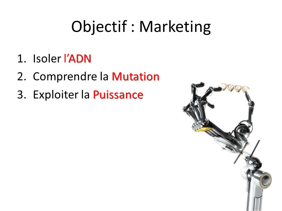 Objectif : Marketing Isoler l'ADN Comprendre la Mutation