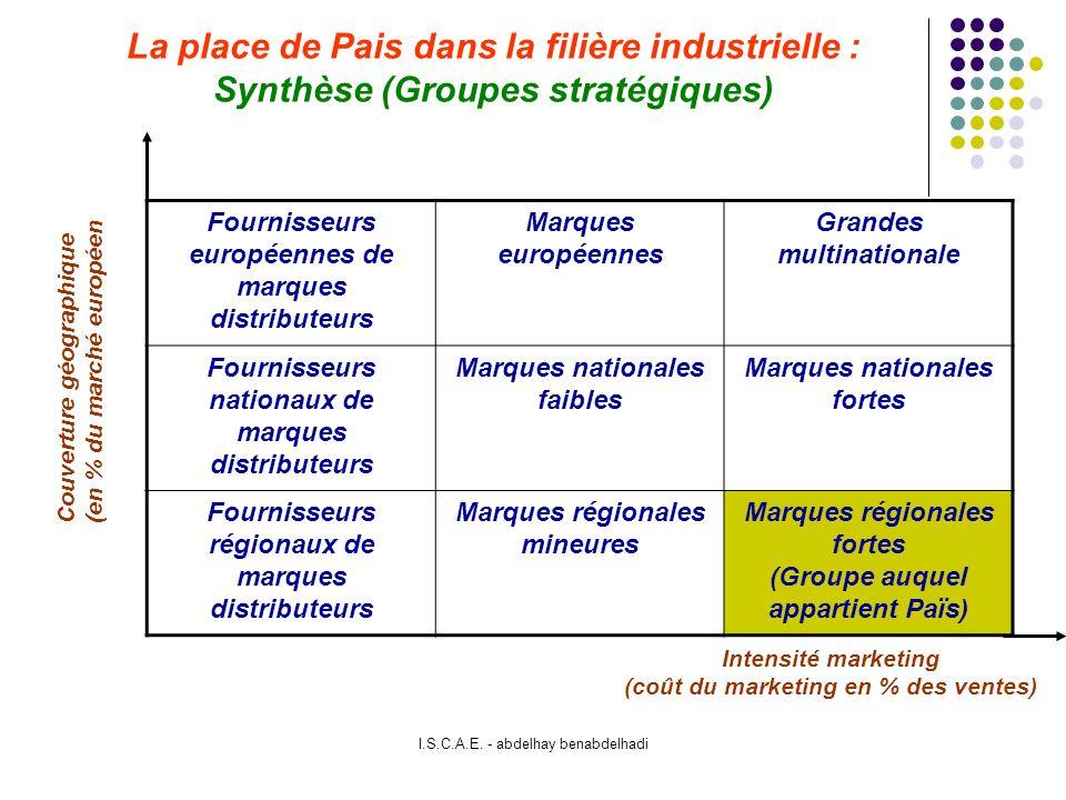 La place de Pais dans la filière industrielle : Synthèse (Groupes stratégiques)