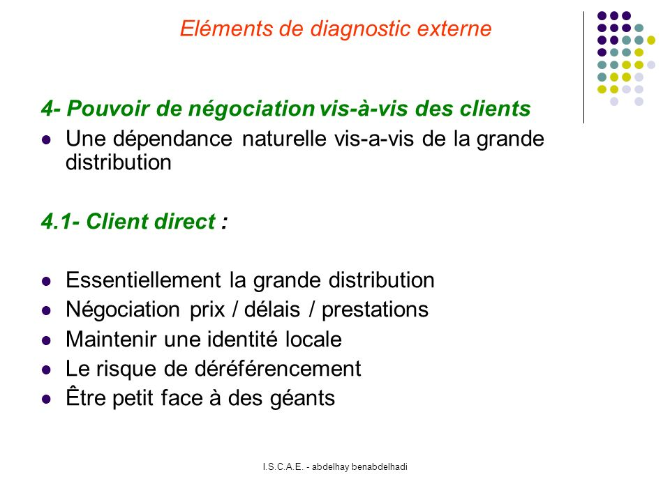 Eléments de diagnostic externe