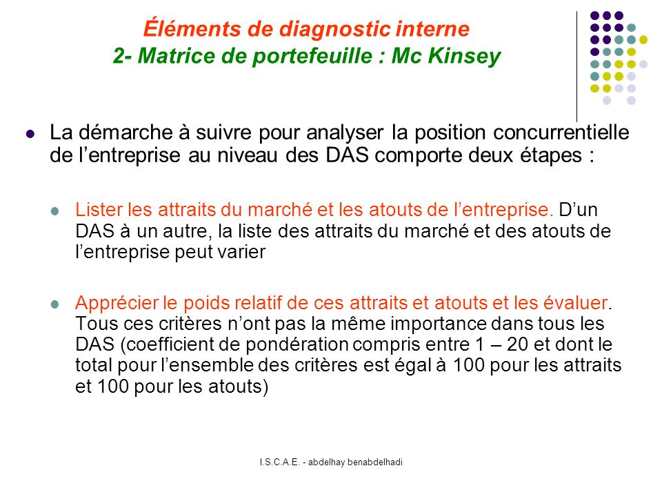 Éléments de diagnostic interne 2- Matrice de portefeuille : Mc Kinsey
