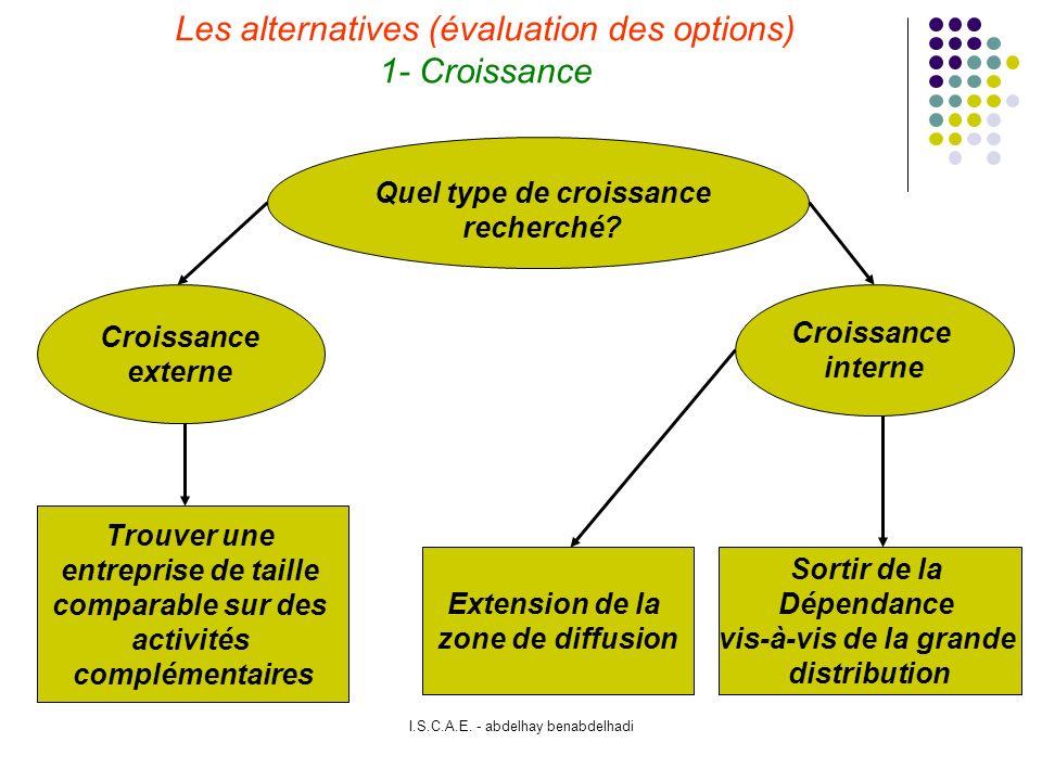 Les alternatives (évaluation des options) 1- Croissance