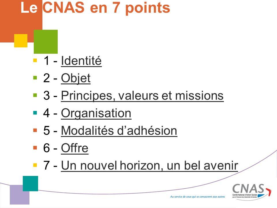 Le CNAS en 7 points 1 - Identité 2 - Objet