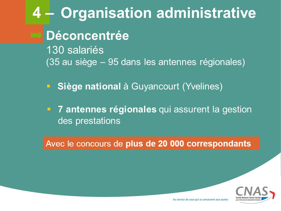 4 – Organisation administrative