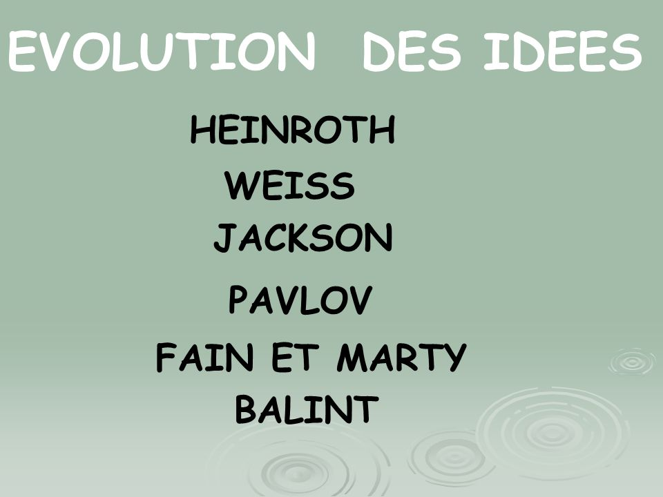 EVOLUTION DES IDEES HEINROTH WEISS JACKSON PAVLOV FAIN ET MARTY BALINT