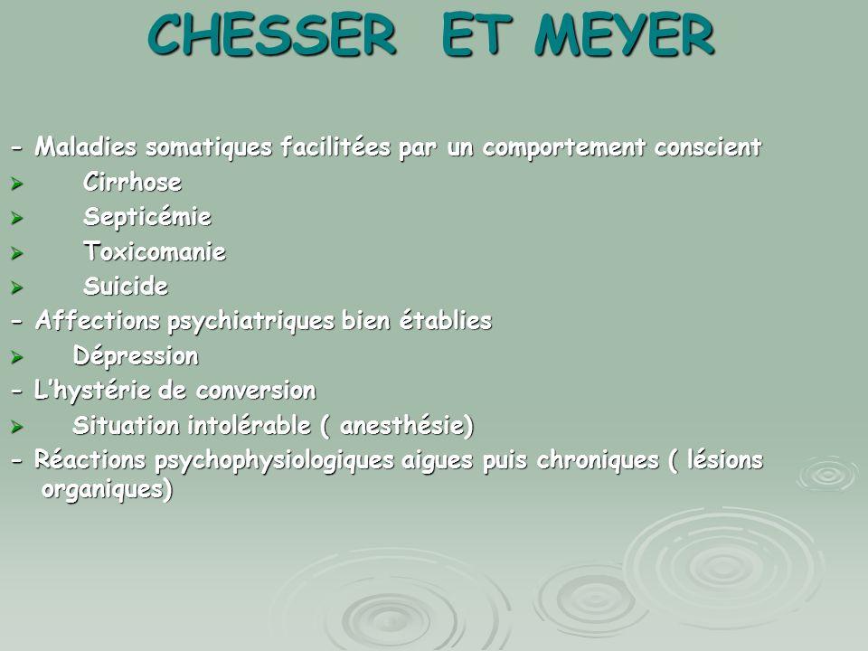 CHESSER ET MEYER - Maladies somatiques facilitées par un comportement conscient. Cirrhose. Septicémie.