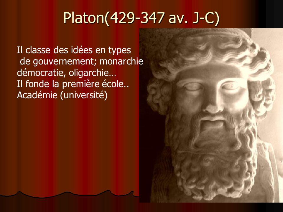 Platon(429-347 av. J-C) Il classe des idées en types