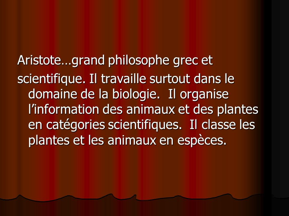 Aristote…grand philosophe grec et scientifique