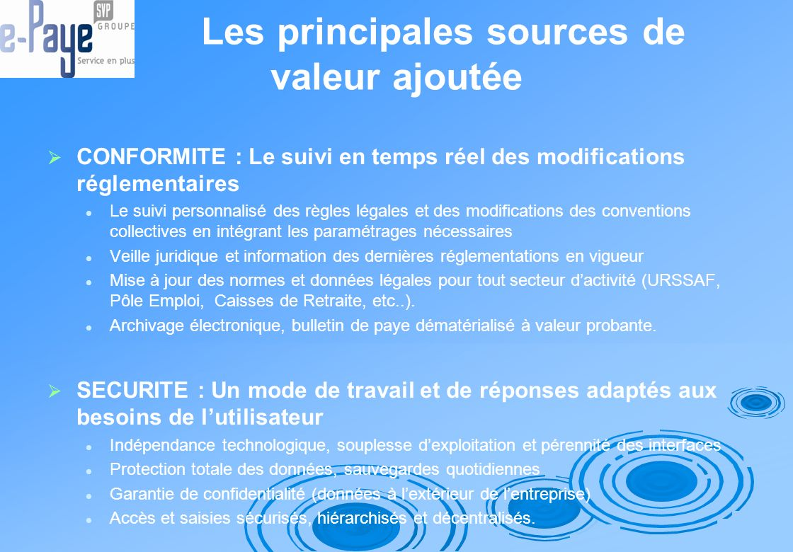 Les principales sources de valeur ajoutée