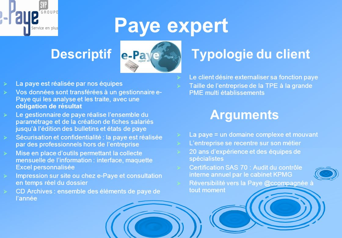 Paye expert Descriptif Typologie du client Arguments