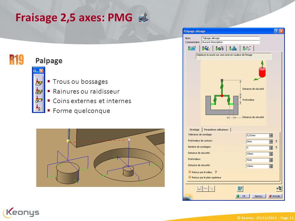 R19 Fraisage 2,5 axes: PMG Palpage Trous ou bossages
