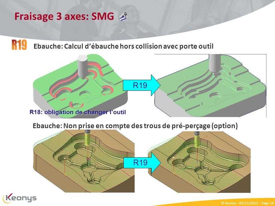 Fraisage 3 axes: SMG R19. Ebauche: Calcul d'ébauche hors collision avec porte outil. R19. R18: obligation de changer l'outil.