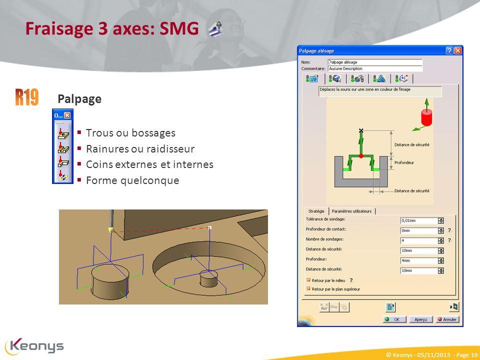 R19 Fraisage 3 axes: SMG Palpage Trous ou bossages