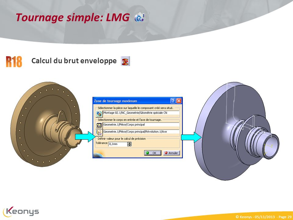Tournage simple: LMG R18 Calcul du brut enveloppe