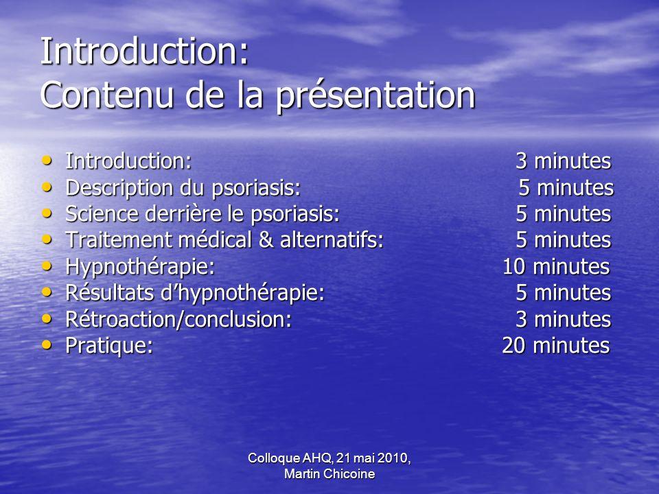 Introduction: Contenu de la présentation