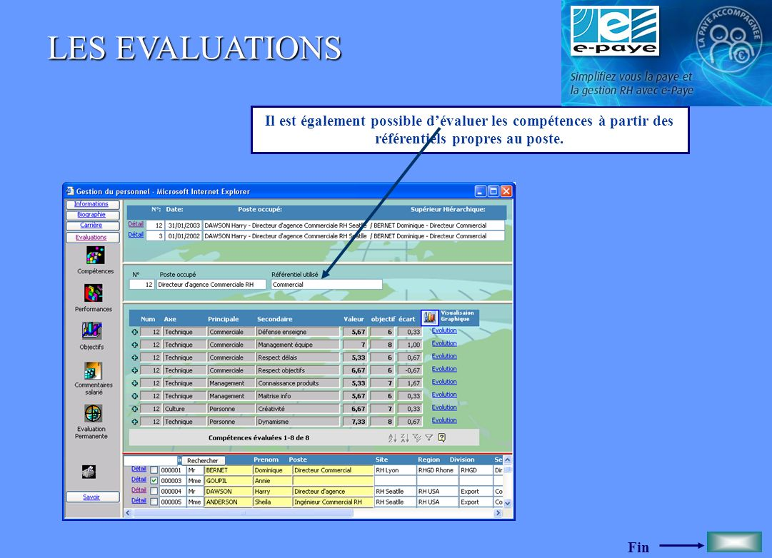 LES EVALUATIONS Il est également possible d'évaluer les compétences à partir des référentiels propres au poste.
