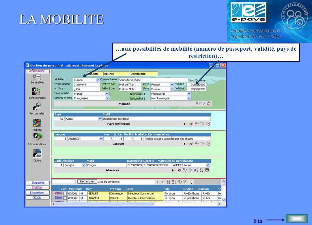 LA MOBILITE …aux possibilités de mobilité (numéro de passeport, validité, pays de restriction)…