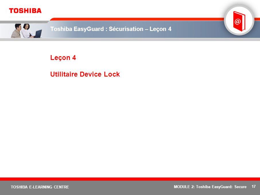 Toshiba EasyGuard : Sécurisation – Leçon 4