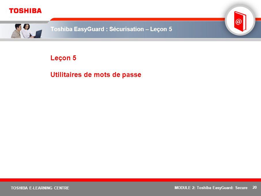 Toshiba EasyGuard : Sécurisation – Leçon 5