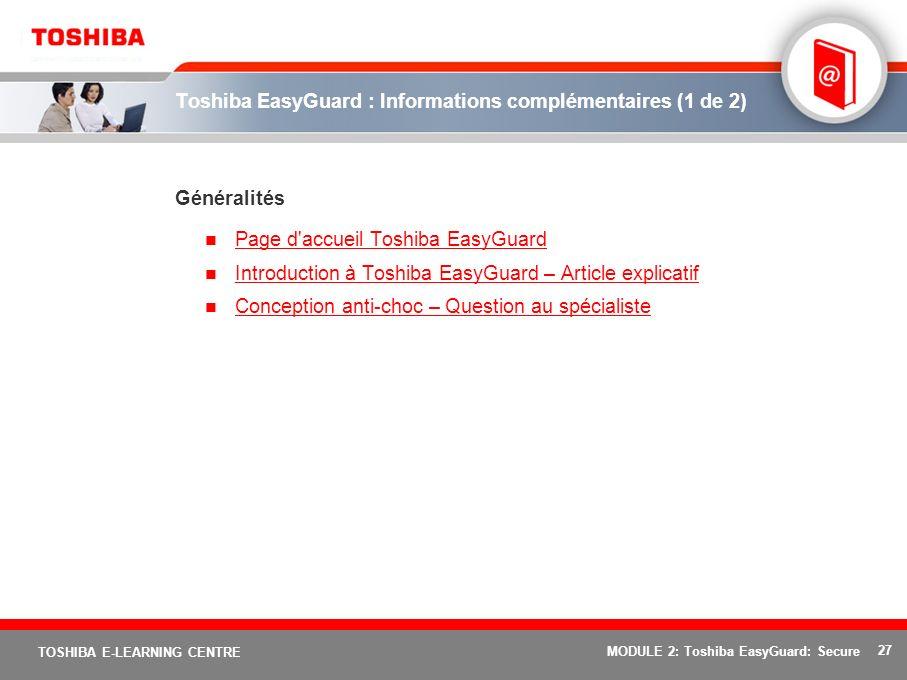 Toshiba EasyGuard : Informations complémentaires (1 de 2)