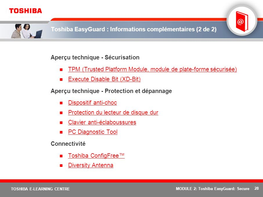 Toshiba EasyGuard : Informations complémentaires (2 de 2)