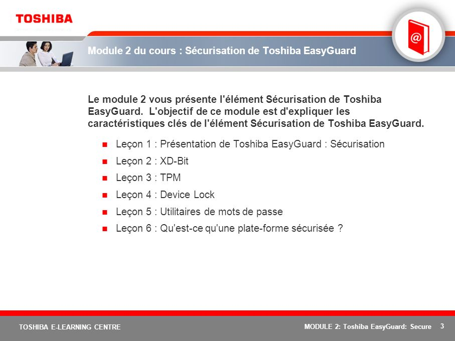 Module 2 du cours : Sécurisation de Toshiba EasyGuard