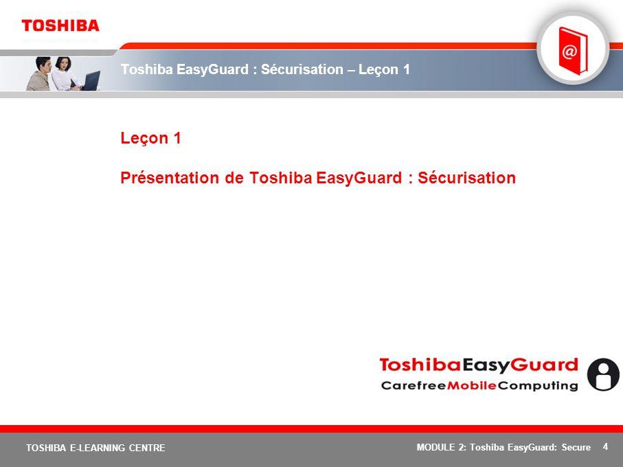 Toshiba EasyGuard : Sécurisation – Leçon 1