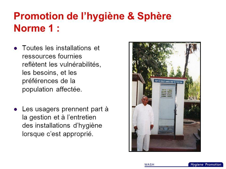 Promotion de l'hygiène & Sphère Norme 1 :