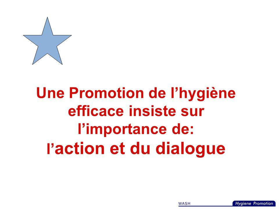 Une Promotion de l'hygiène efficace insiste sur l'importance de: l'action et du dialogue